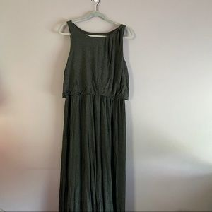 LOFT Heathered Bubble Waist Sleeveless Maxi Dress